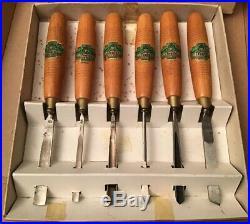 Superb Vintage Henry Taylor 6 Piece Starter Pack Wood Carving Tools Unused Boxed