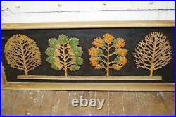 Syroco Ornamental Co. Vintage 4 Wood Trees Sculpture Mid Century Framed Wall Art