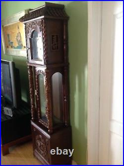 Tempus Fugit Grandfather Clock Asian Wood Carving Dragon Pagoda German /Asian