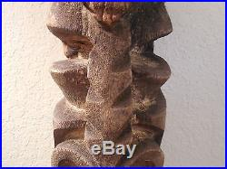 Tiki Totem Carved Art Statue Wood Sculpture Tribal Vintage Decor Pacific Island