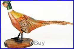 Tom Taber Wood Carved Ringneck Pheasant Signed Early Decoy Sculpture Statue