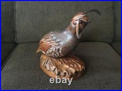 Tom Taber Wooden Carved Quail Signed Early Decoy Sculpture Statue