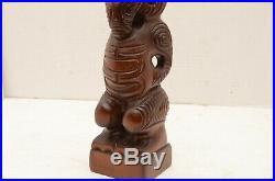 Tribal Maori Wood Carving TAPU Carved Rotorua New Zealand figure statue TIKI VTG