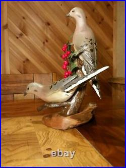Two Carved Mourning Doves Art Wood Bird Sculpture Duck Decoy by Casey Edwards