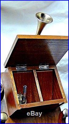 Unique Vintage 1930 Wood Carved Mini-sculpture Ink Well Writing Desk