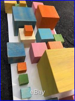 Unique Vintage Colored Wooden Cubes Abstract Sculpture Art Mid Century Modern