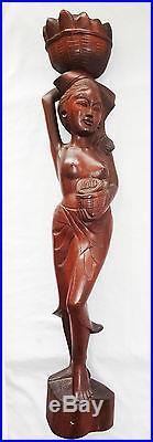 VINTAGE BALINESE HEAVY HARD WOOD CARVED TALL SCULPTURE NUDE FEMAL w. BASKET