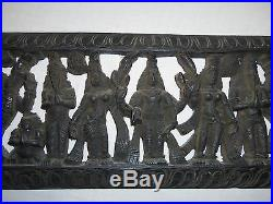 VINTAGE HAND CARVED WOOD HINDU EPIC WALL HANGING RARE PANEL INDIA 9 x 38