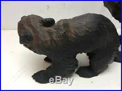VINTAGE JAPANESE AINU BEAR PAIR Sculpture Wooden Japan Carving OLD Antique Wood