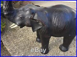 VINTAGE LARGE BLACK LEATHER ELEPHANT FIGURINE, SCULPTURE, ANIMAL, ART, 1980sWILD