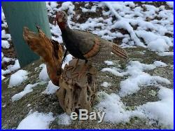 VINTAGE MINIATURE WOOD CARVING WILD TURKEY BY STAN SPARE CAPE COD Ma