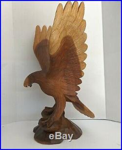 VTG Big 24 Inch Eagle Hand Carved Wood Sculpture Folk Art Detailed Cabin Decor