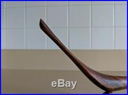 VTG Emil Milan Signed MCM Mid Century Modern Carved Padouk Wood Bird Sculpture