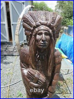 VTG Exquisite Detailed Carving Cigar Indian Native American Wood Statue