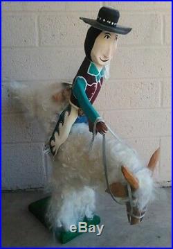 VTG Folk Art Delbert Buck Old Navajo Cowboy Riding Bucking Goat Wood Carving