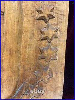 VTG. Hand Carved Wood Folk Art Primitive Wall Sculpture