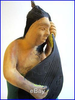 VTG Joseph Nacius Fine Wood Carving Haiti Sculpture c. 80s Mermaid Playing Guitar