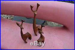 VTG MCM wood sculpture teak reindeer deer Danish modern 50's 60's