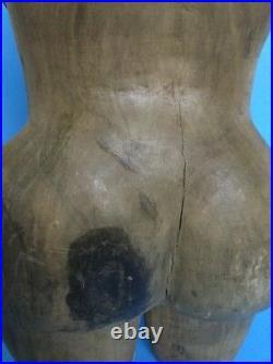 VTG Primitive Hand Carved Wooden Female Torso Sculpture