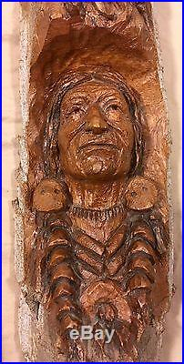 VTG Ronald J. Adamson Two Chiefs Hand Carved Cottonwood Bark Wall Hanging