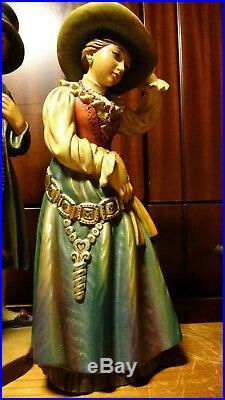 Vintage 12 Anri Wood Carved Carving Man & Woman In Old Groedner Costume Statue