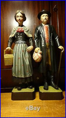 Vintage 18 Wood Carved Carving Man & Woman In German Traditional Costume Statue