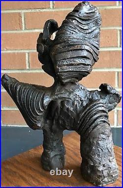 Vintage 1960s Bronze Abstract Brutalist Sculpture Mid Century Modern Retro Art