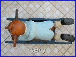 Vintage 1960s Unique Beautiful Rocking Tintin Horse Solid Wood Carving 10 Kg