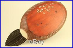 Vintage 1976 Bob Sutton Carved Art Wood Ruddy Drake Duck Decoy Sculpture Signed