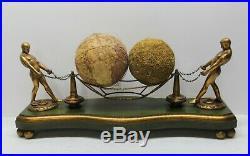 Vintage 20 ART DECO Man Men Figure Sculpture Struggle Chain Globe Orbs Balls