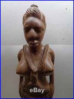 Vintage 26 African Carved Wood Tribal Woman Figure Statue Sculpture Floor Art
