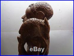 Vintage 27 African Carved Wood Tribal Hunter Figure Statue Sculpture Floor Art