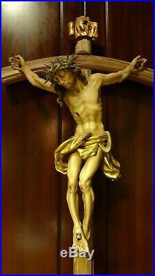 Vintage 28 Catholic Wood Carving Wall Crucifix Cross Jesus Christ Statue