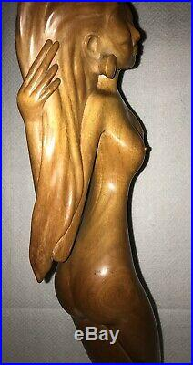 Vintage 28 carved wood nude female woman bust body statue art sculpture bali
