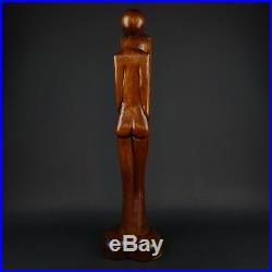 Vintage 29 Hand Carved Wood Modernist Sculpture Man & Woman in Lovers Embrace
