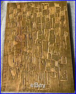 Vintage 60s Carved Abstract Sculptural Wood Panel Mid Century Modern Deyoe