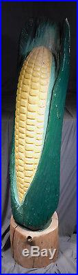 Vintage 64 Wood Carving Giant Ear Corn Shop Sign Trade Sculpture Folk Art Cob