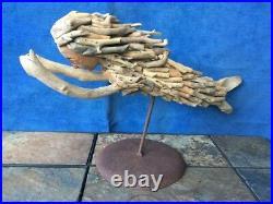 Vintage 8/12 ONE of a KIND Sea Ocean Drift Wood Sculpture & Stand MERMAID j8