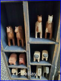 Vintage 90's Noah's WithArk Animals Wood Carving Millwood toy Co. Signed