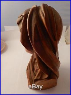 Vintage ANRI Saint MaryMadonnaHand Carved Wood StatueSculpture