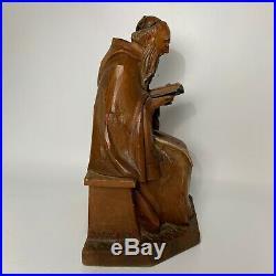 Vintage ANRI Wood Carving Sculpture Signed Kaslatter Priest Friar Monk Reading