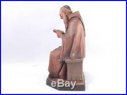 Vintage ANRI Wood CarvingSculpture Signed Katharina KaslatterMonkFiarPriest