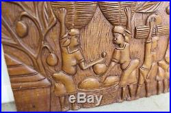 Vintage Africal Tribal Relief Wood Carving Wall Art Hanging 24 x 13.5