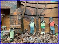Vintage African American Black Family Folk Art Wood Carving Douglasville Ga