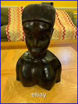 Vintage African Hand Carved Ebony Wood Sculpture Female Head Bust 12'' Tall