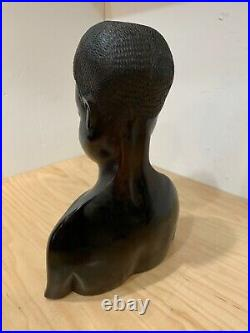 Vintage African Hand Carved Ebony Wood Sculpture Male Head Bust 12'' Tall