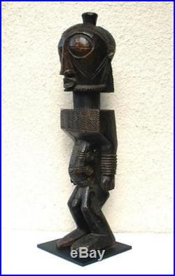 Vintage African LUBA Carved Wood Male Fertility Tribal Zaire Sculpture
