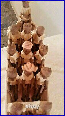 Vintage African Nigerian Thorn Wood boat carving of 20 tribal figures in a Canoe