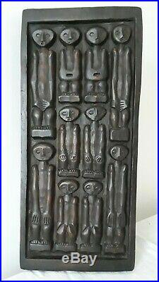 Vintage African Tribal Wood Carving Panel Sculpture Relief Wall Hanging Art