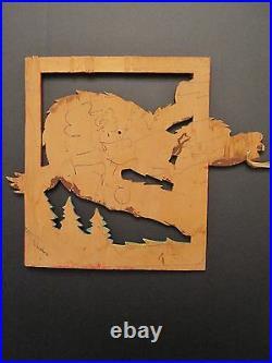 Vintage American Folk Art MID Century Wood Carvings Wolf Dog Shotgun Rifle Funny